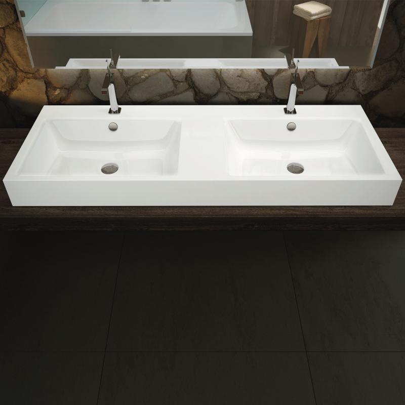 umywalki stalowe emaliowane stojące na blacie podwójne