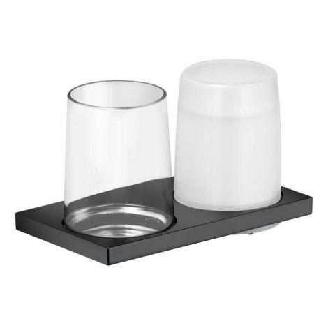 KEUCO Edition 11 Dozownik do mydła wraz z szklanką, szkło/chrom czarny szczotkowany 11153139000