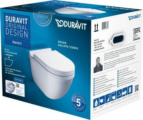 DURAVIT Starck 3 Zestaw WC z miską wiszącą Duravit Rimless  w kolorze białym 45270900A1 + Oferta do wyczerpania zapasów