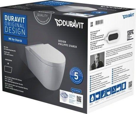 DURAVIT ME by Starck Zestaw WC z miską wiszącą Duravit Rimless kolor biały z powłoką wondergliss 45290900A11+Oferta do wyczerpania zapasów