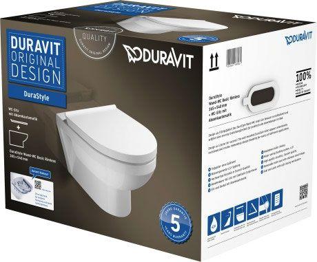 DURAVIT DuraStyle Basic Zestaw WC z miską wiszącą Duravit Rimless kolor biały 45620900A1 + Oferta do wyczerpania zapasów