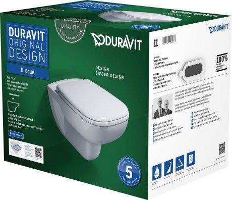 DURAVIT D-Code Zestaw WC z miską wiszącą Duravit Rimless w kolorze białym 45700900A1 +Oferta do wyczerpania zapasów