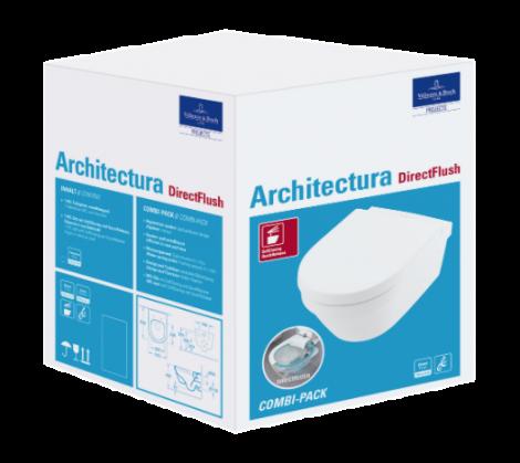 VILLEROY&BOCH Architectura Combi-Pack owalna biała z powłoką ceramicplus 4694HRR1 + Oferta do wyczerpania zapasów