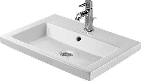DURAVIT 2nd Floor, Umywalka nablatowa 60 x 43 cm  biała z powłoką wondergliss  03476000001