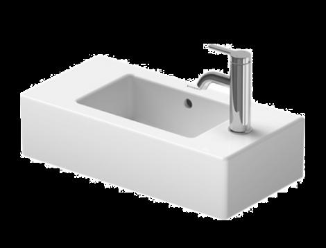DURAVIT Vero Umywalka mała 50 x 25 cm, z otworem pod baterię z prawej strony, biała z powłoką Wondergliss 07035000081 + Oferta do wyczerpania zapasów