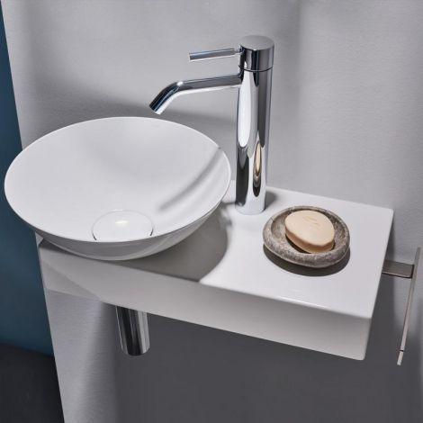 Alape Piccolo Novo umywalka średnica 300 mm z stali emaliowanej z konsolą i wieszakiem na ręcznik, biała 5256000000 - produkt pod zamówienie