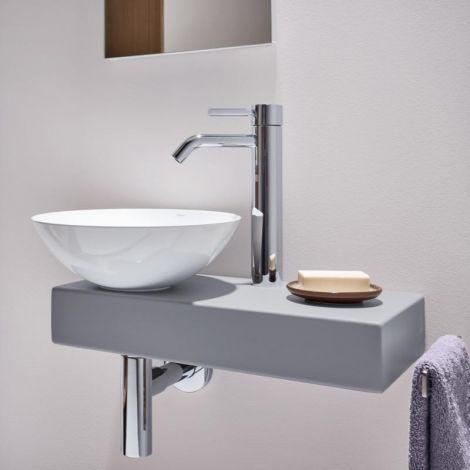 Alape Piccolo Novo umywalka z stali emaliowanej 30 cm z konsolą i wieszakiem na ręcznik, błękitny mat  5256000083  -produkt pod zamówienie