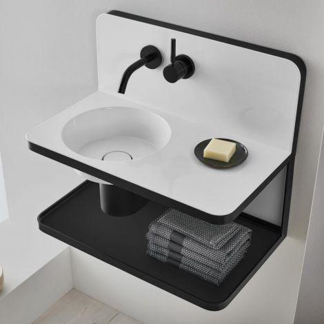 Alape Steel19 umywalka z stali emaliowanej 600 x 360 mm wraz z strefa mycia oraz armaturą, czarno biała 5260000000 -produkt pod zamówienie