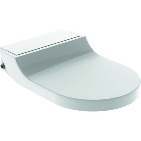 GEBERIT Aquaclean Tuma Comfort deska sedesowa z funkcją myjącą półka w kolorze stal szczotkowana / deska biała 146272FW1 + Oferta do wyczerpania zapasów
