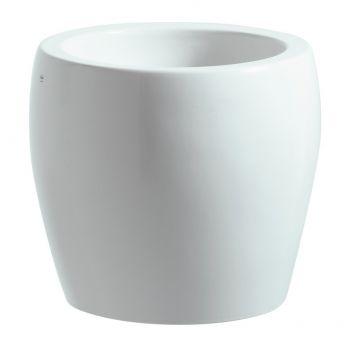 LAUFEN ALESSI Umywalka nablatowa ze zintegrowanym półpostumentem Ø45 x 40 cm bez otworu na baterię biała z powłoką LCC H8119734001091